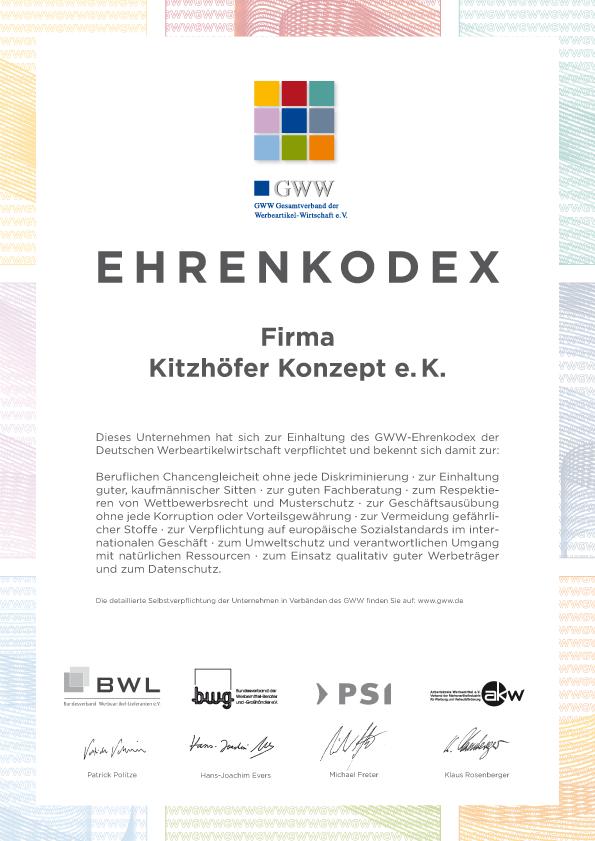 Ehrenkodex-Urkunde